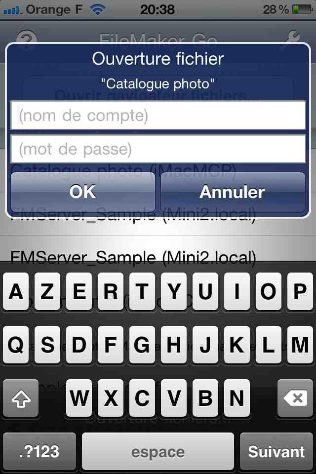 Accès à FileMaker Go par mot de passe